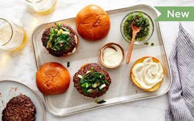Grass-Fed Burgers with Charred Spring Onions & Green Garlic Aioli