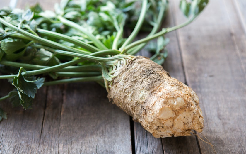 Organic Celery Root with Greens