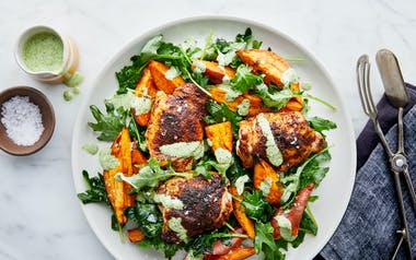 One-Pan Chicken Thighs with Sweet Potatoes & Aji Verde