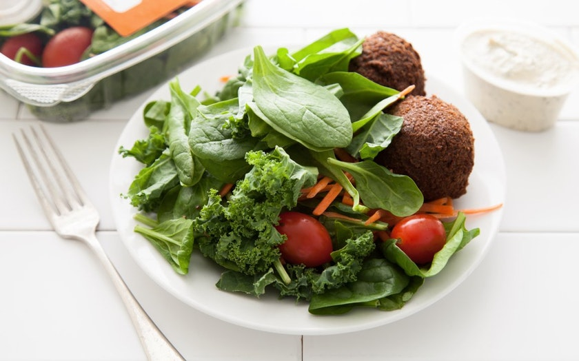 Mediterranean Super Green Salad with Falafel
