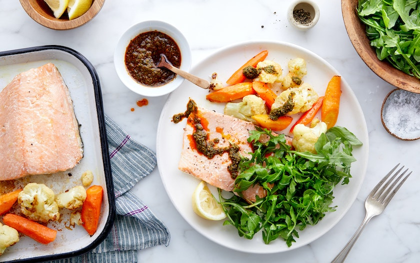 Sheet-Pan Trout with Roasted Cauliflower & Carrots - Good