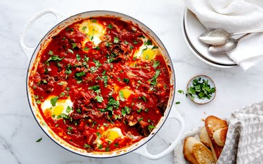 Baked Eggs with Tomatoes & Chickpeas (Shakshuka)