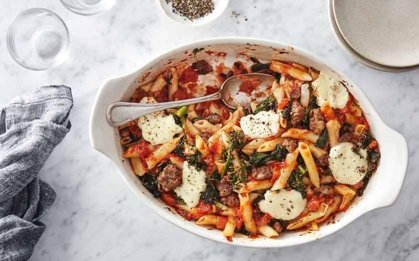 Quick Baked Pasta with Kale & Sausage