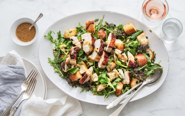 Roasted Chicken Salad with Greens & Croutons