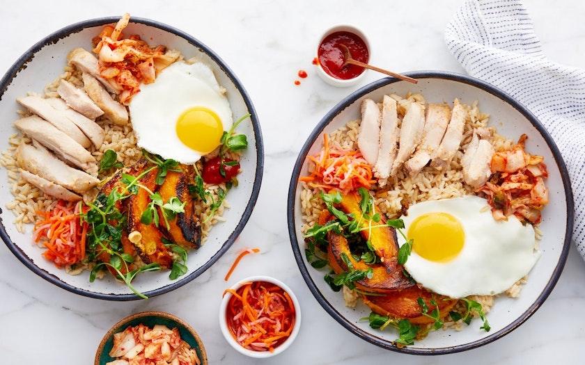 Korean Rice Bowls Bibimbap With Kabocha Kimchi Good Eggs Meal Kits Sf Bay Good Eggs