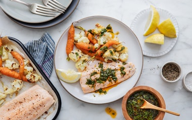 One-Pan Local Trout with Cauliflower & Baby Carrots