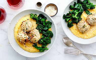 Turkey Meatballs with Polenta & Broccoli