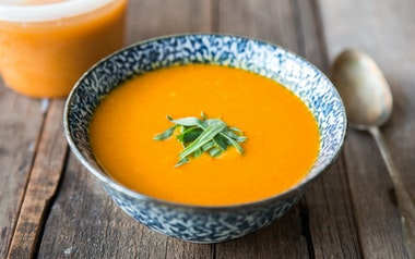 Carrot Soup with Pistachio and Tarragon