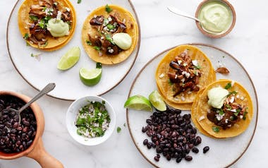 "Maitake ""Carnitas"" Tacos with Avocado Crema"