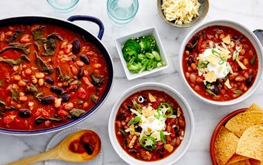 Slow Cooker Three-Bean Chili with Collards & Jack