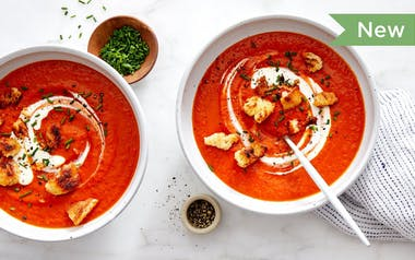 Tomato-Orange Soup with Garlic Croutons