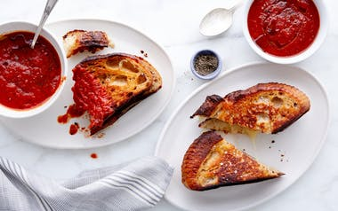 Toma Grilled Cheese with Simple Tomato Soup